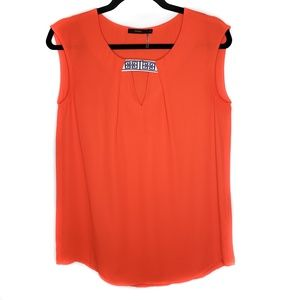 Anthro THML Orange Sleeveless Embroidered Top Boho